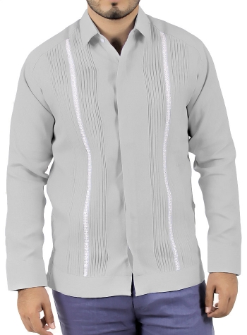 Grey Linen Long Sleeve Guayabera GUAYABERAS