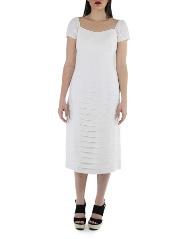 Pleated White Linen Cocktail Midi Dress DRESSES