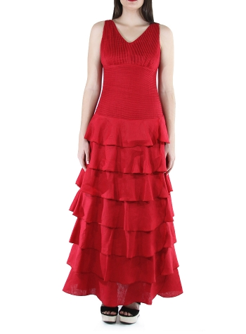 Flounce 100% Red Linen Formal Dress DRESSES