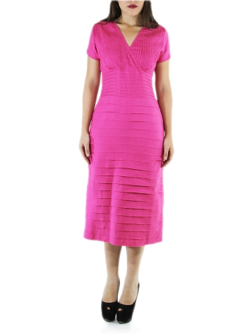 Cocktail 100% Fuchsia Linen Midi Dress DRESSES