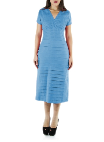 Cocktail 100% Turquoise Linen Midi Dress DRESSES