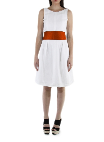 Belted Sleeveless White Linen Dress DRESSES