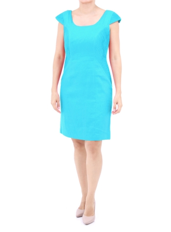 Turquoise Color Linen Evening Dress DRESSES