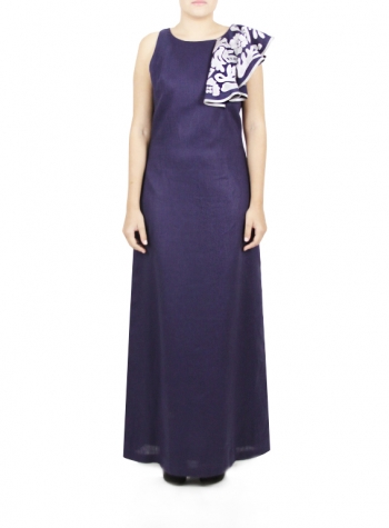 Long Blue Dress with Embroidery DRESSES