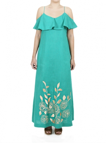 Long Emerald Dress with Khaki Color Artisan Embroidery DRESSES