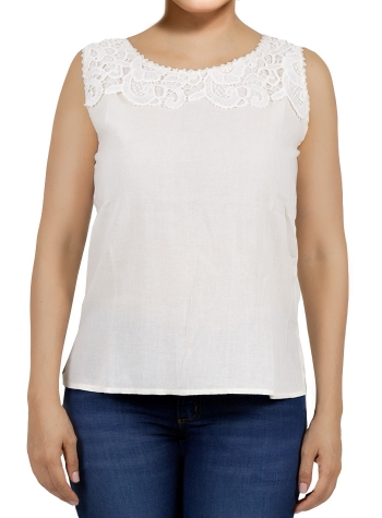 White Color Cotton Crochet Top TOPS