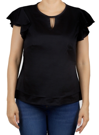 Black Color Linen Top TOPS