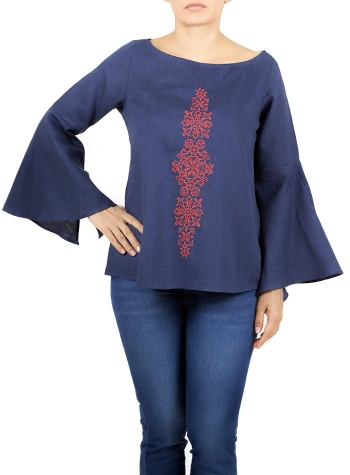 Marine Blue Color Linen Embroidered Top TOPS