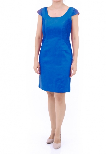 Premium Royal Blue Color Linen Dress DRESSES