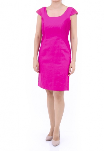 Premium Fuchsia Color Linen Dress DRESSES