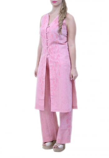 Conjunto de Lino 100% Color Rosa Jaspeado Pantalon y Top VESTIDOS