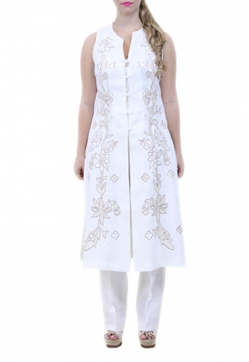 Embroidered 100% White Linen Tunic DRESSES