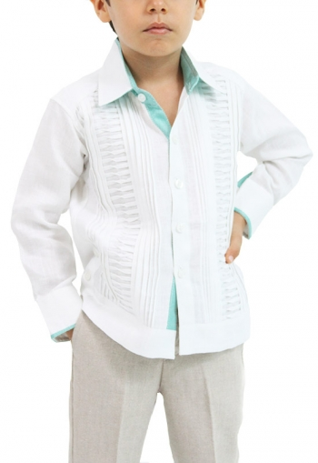 Kids Linen Guayabera with Aqua Green Applications GUAYABERAS
