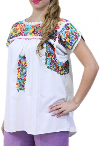 Colorful Artisan Hand Embroidered Cotton Top TOPS