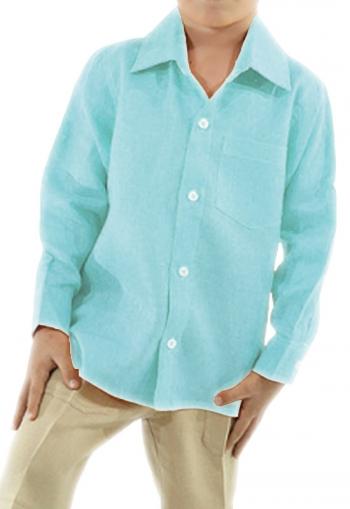 Camisa de Lino 100% Para Niños Color Aqua CAMISAS