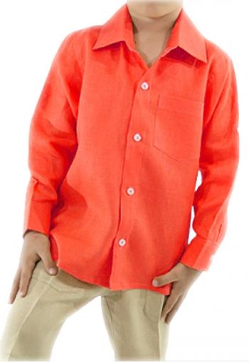 Camisa de Lino 100% Para Niños Color Coral CAMISAS