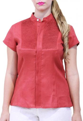 Blusa de Lino 100% Con Alforzas Color Chedron