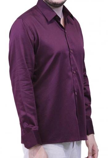 Camisa de Algodon Egipcio Color Borgoña CAMISAS