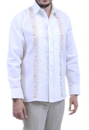 Tradicional Embroidered White Irish Linen Guayabera SHIRTS