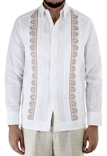 Hand Embroidered White Irish Linen Guayabera GUAYABERAS