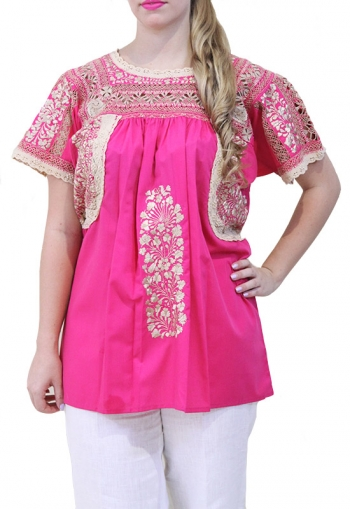 Handmade Embroidered Cotton Fuchsia Top BLUSAS