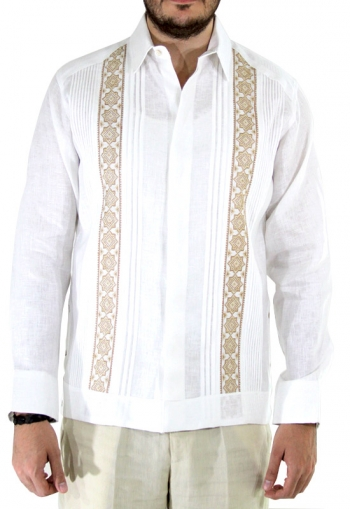 Pattern Embroidered Irish Linen Guayabera GUAYABERAS