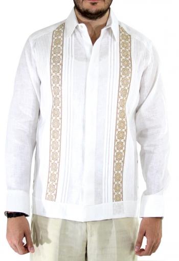 Guayabera Blanca de Lino Con Bordado a Mano Punto de Cruz Caqui GUAYABERAS
