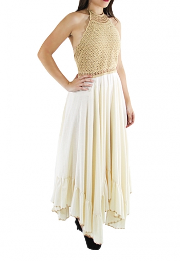 Hand Made Crochet-Paneled Ecru Cotton Midi Dress DRESSES