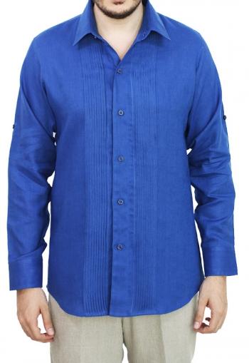 Camisa de Lino 100% Corte Slim Con Alforzas Color Azul CAMISAS