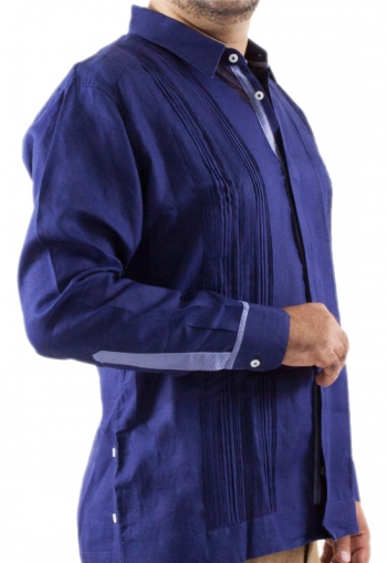 Guayabera Blue Combined Cotton Linen With Leads GUAYABERAS