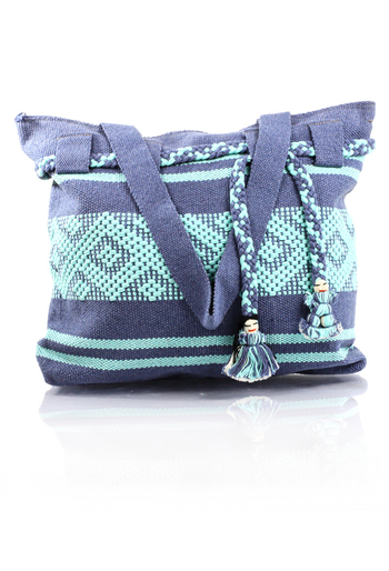 Artisan Made Metalic Blue Aqua Waist Loom Handbag BAGS & POUCHES