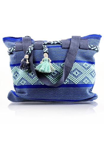 Mexican Folkart Blue Gray Aqua Waist Loom Handbag BAGS & POUCHES