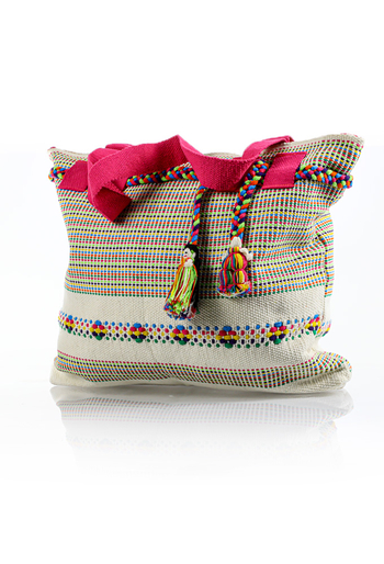Mexican Boho Beige With Colors Waist Loom Handbag BAGS & POUCHES