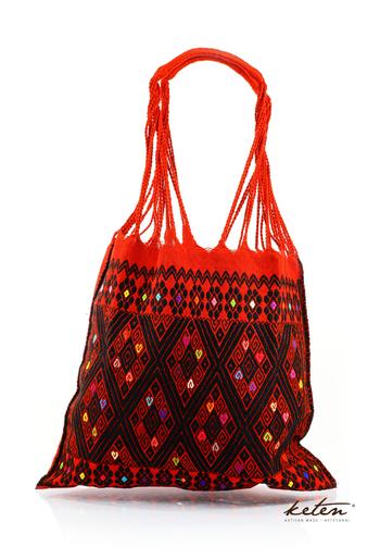 Hecho a Mano Bolsa Color Rojo con Bordado Artesanal BOLSAS & CARTERAS