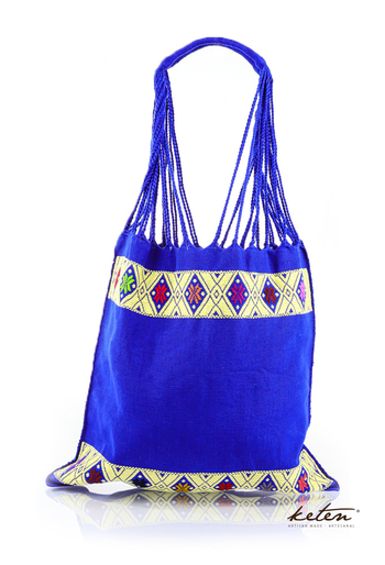 Blue Color Waist Loom Shopping Bag Hand Made BAGS & POUCHES