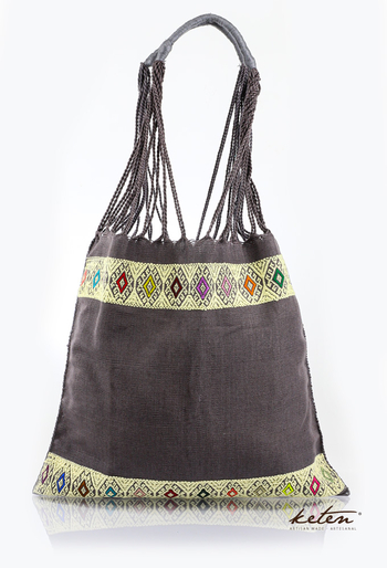 Gray Handwoven Mexican Morral Bag BAGS & POUCHES
