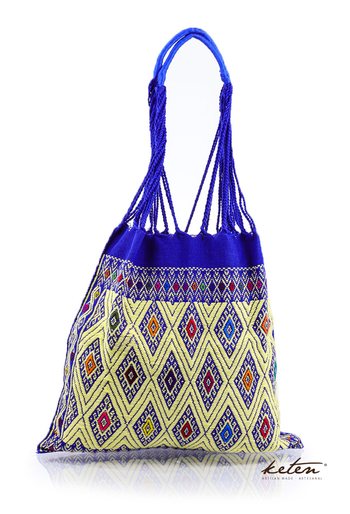 Mexican Hand Woven Waist Loom Royal Blue Tote BAGS & POUCHES