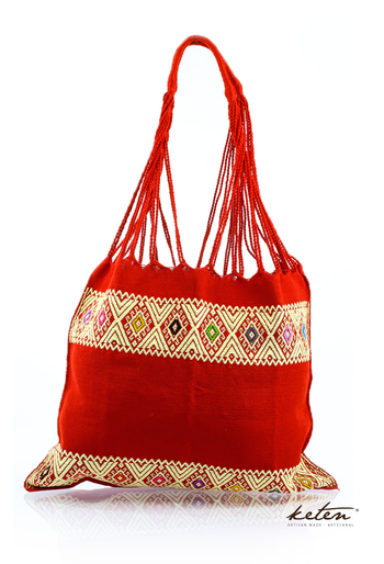 Handwoven On Waist Loom Red Bag BAGS & POUCHES
