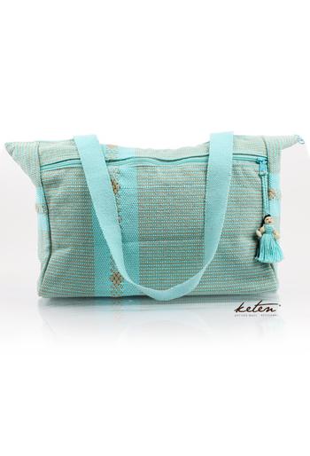 Aqua Ethnic Cloth Shoulder Bag Waist Loom BAGS & POUCHES