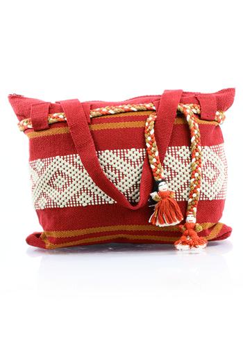 Mexican Folkart Red Beige Waist Loom Handbag BAGS & POUCHES
