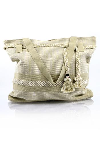 Artisan Made Beige White Waist Loom Handbag BAGS & POUCHES