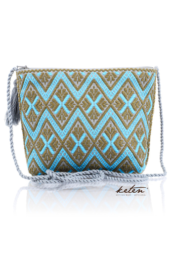 Blue Beige Shoulder Pouch Waist Loom BAGS & POUCHES