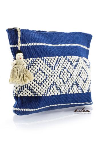 Blue Handmade Waist Loom Pouch BAGS & POUCHES