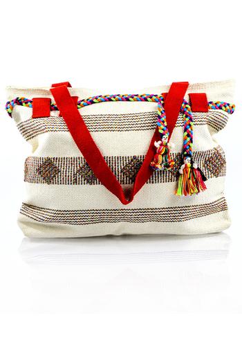 Artisan Made White Waist Loom Handbag BAGS & POUCHES