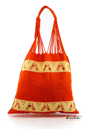 Orange Color Waist Loom Shopping Bag Hand Made BAGS & POUCHES