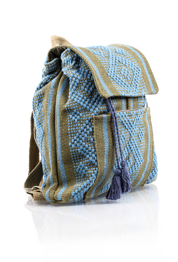 Mexican Waist Loom Blue Backpack HandMade BAGS & POUCHES