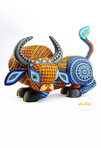 Bull Alebrije Hand Carved Wood / Hand Painted Mexican Bull ALEBRIJES - CARVED PIECES
