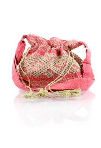 Handmade Pink Color Waist Loom Handbag BAGS & POUCHES