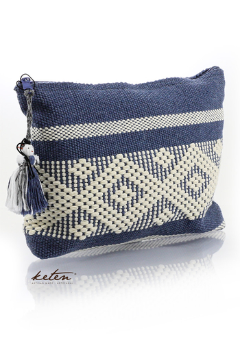 Handmade Steel Blue Waist Loom Pouch Folkart BAGS & POUCHES