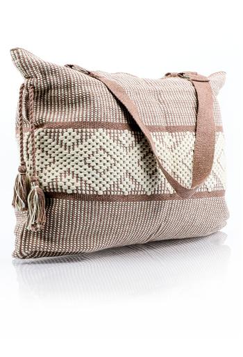 Ethnic Handmade Beige Color Waist Loom Handbag BAGS & POUCHES